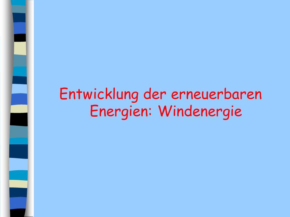 Entwicklung der erneuerbaren Energien: Windenergie