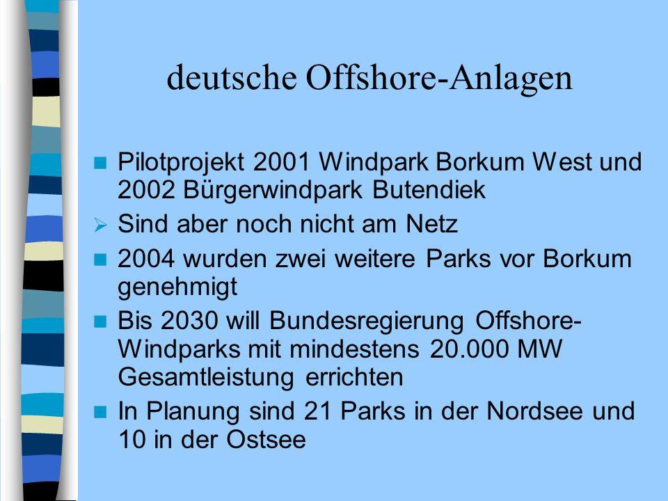 deutsche Offshore-Anlagen Pilotprojekt 2001 Windpark Borkum West und 2002 Bürgerwindpark Butendiek Sind aber noch nicht am Netz 2004 wurden zwei weite