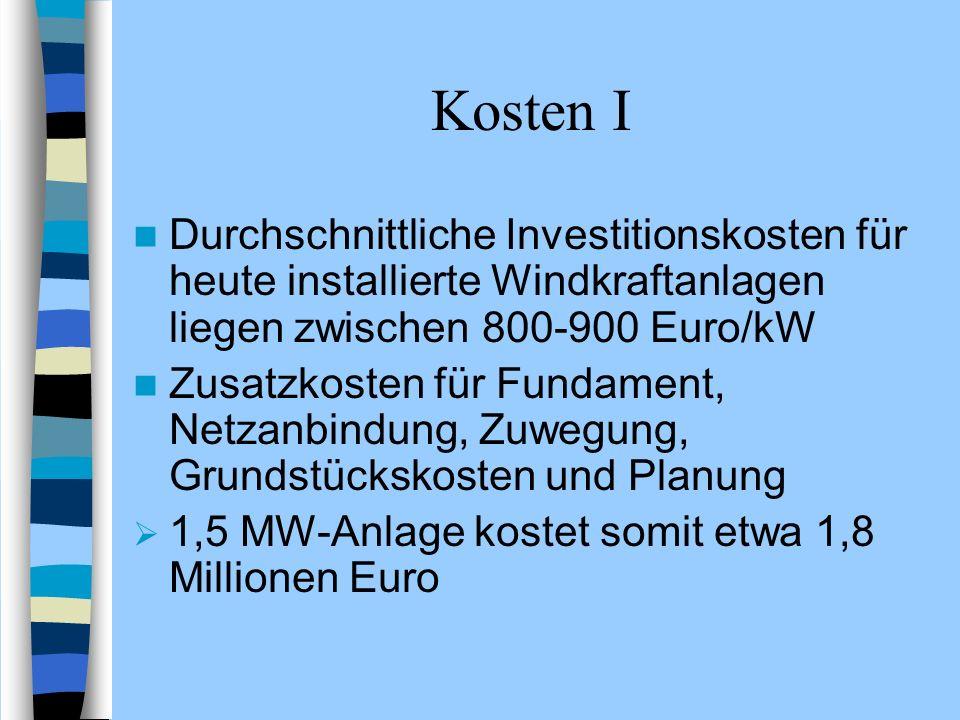Kosten I Durchschnittliche Investitionskosten für heute installierte Windkraftanlagen liegen zwischen 800-900 Euro/kW Zusatzkosten für Fundament, Netz