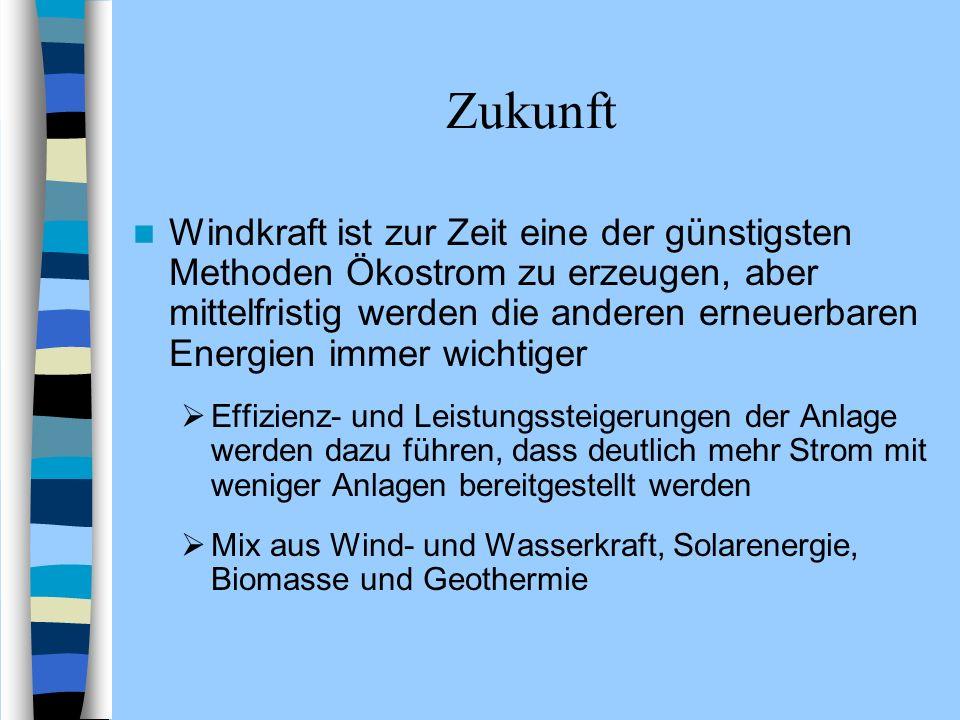 Zukunft Windkraft ist zur Zeit eine der günstigsten Methoden Ökostrom zu erzeugen, aber mittelfristig werden die anderen erneuerbaren Energien immer w