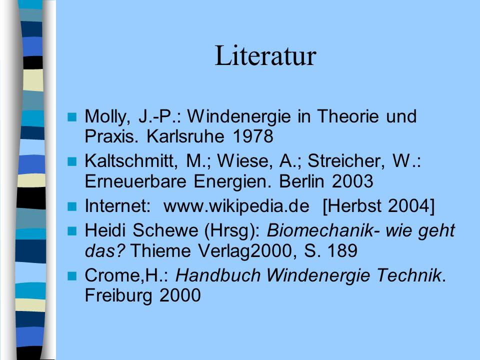 Literatur Molly, J.-P.: Windenergie in Theorie und Praxis. Karlsruhe 1978 Kaltschmitt, M.; Wiese, A.; Streicher, W.: Erneuerbare Energien. Berlin 2003