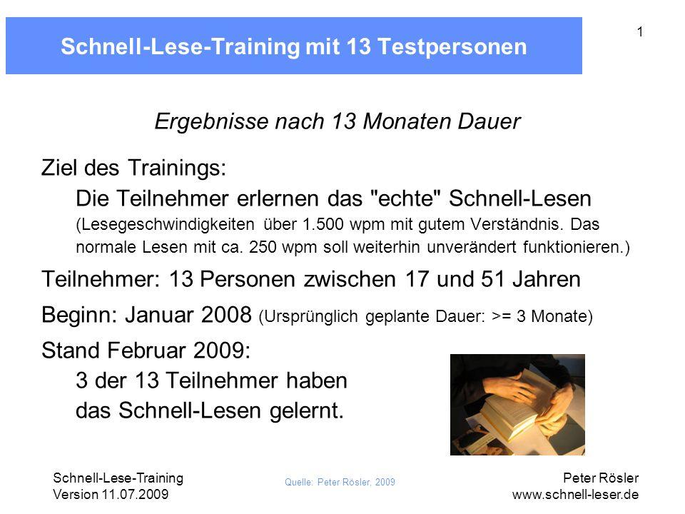 Schnell-Lese-Training Version 11.07.2009 Peter Rösler www.schnell-leser.de 2 Trainingsformat Grobes Raster, je nach Teilnehmer angepasst: 1 Treffen wöchentlich Täglich ca.