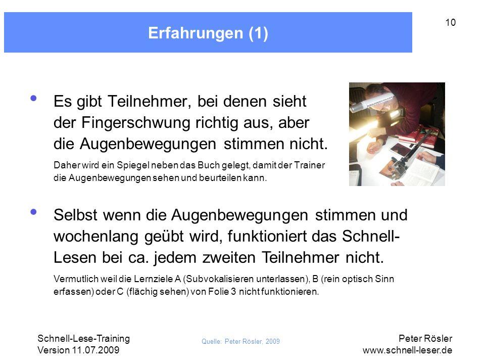 Schnell-Lese-Training Version 11.07.2009 Peter Rösler www.schnell-leser.de 10 Erfahrungen (1) Es gibt Teilnehmer, bei denen sieht der Fingerschwung ri