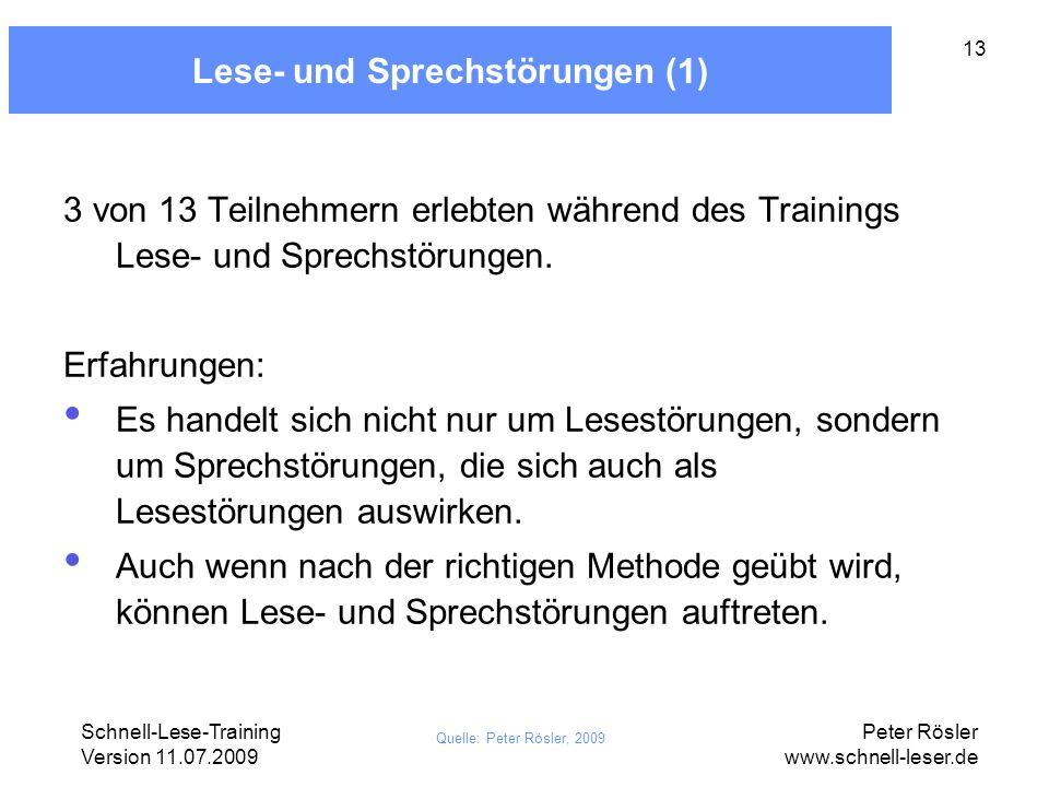 Schnell-Lese-Training Version 11.07.2009 Peter Rösler www.schnell-leser.de 13 Lese- und Sprechstörungen (1) 3 von 13 Teilnehmern erlebten während des