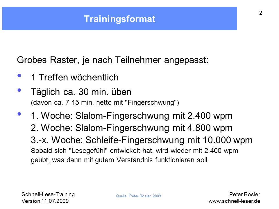 Schnell-Lese-Training Version 11.07.2009 Peter Rösler www.schnell-leser.de 3 Lernziele: was beim Schnell-Lesen alles funktionieren muss (A) Subvokalisieren unterlassen (Subvokalisieren = inneres Mitsprechen) (B) Rein optisch Sinn erfassen (Dem Gehirn muss das also ohne Hilfe des Subvokalisierens gelingen) (C) Flächig sehen statt Tunnelblick (D) Fixationen exakt setzen (So dass die Textfläche lückenlos abgedeckt wird.