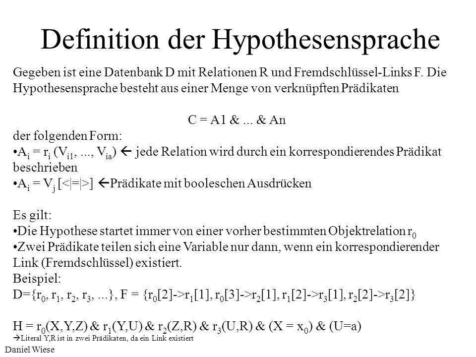 Daniel Wiese Definition des Problems Multi-relationale Subgruppe kann beschrieben werden als: Gegeben: eine relationale Datenbank D mit Relationen R =
