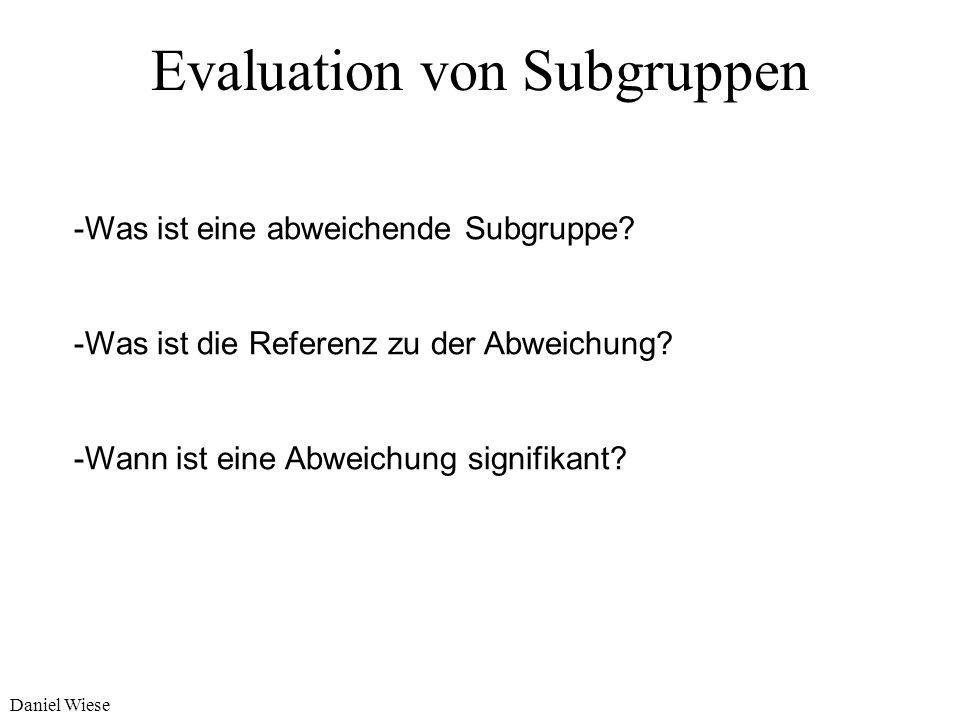 Daniel Wiese Evaluation von Subgruppen Was ist eine interessante Subgruppe? Ziel-Attribut: Behandlungserfolg (binär, ja | nein) Referenzpopulation: Wa