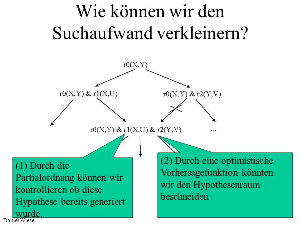 Daniel Wiese Verfeinerung der Hypothese Vorgehen bei der Verfeinerung 1. Verfeinere ein Literal i durch Spezialisierung 1.1 ersetze any(X) durch X=a o