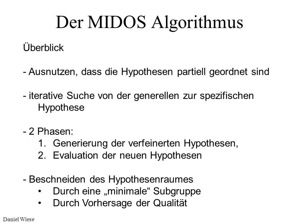 Daniel Wiese Eine einfache optimistische Schätzfunktion d(h):= g(h) (p(h) - p 0 ) d max :=g(h) (1- p 0 ) g(h) := |c(h)| / |r 0 |, Generalität ( wie vi