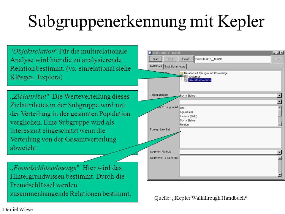 Daniel Wiese Subgruppenerkennung mit Kepler