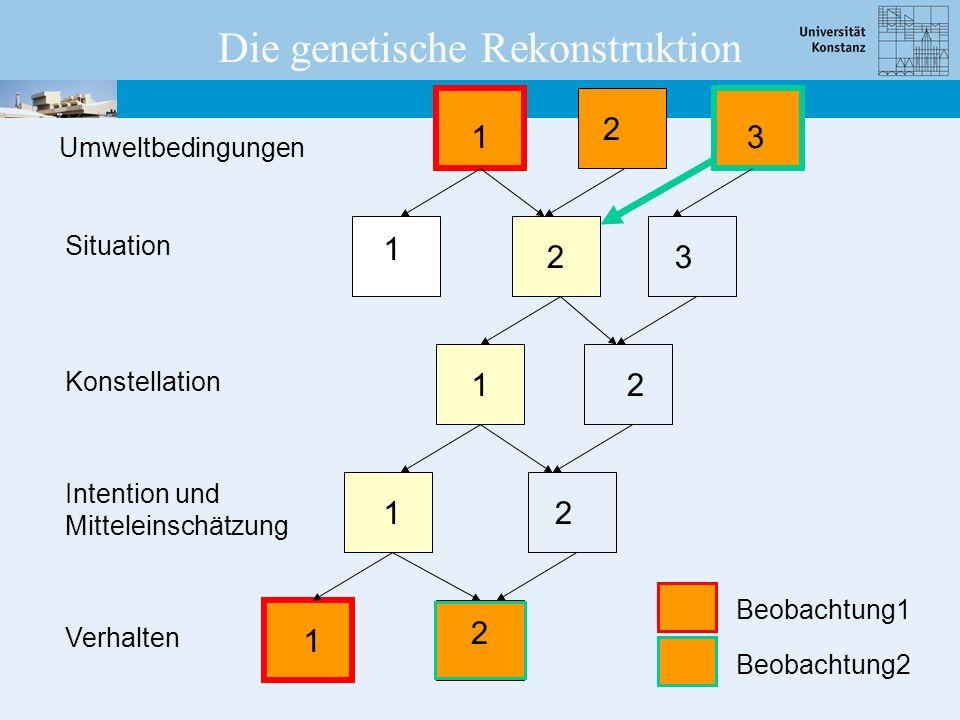 Umweltbedingungen Situation Konstellation Intention und Mitteleinschätzung Verhalten 1 1 2 1 1 1 2 2 2 2 3 3 Die genetische Rekonstruktion Beobachtung