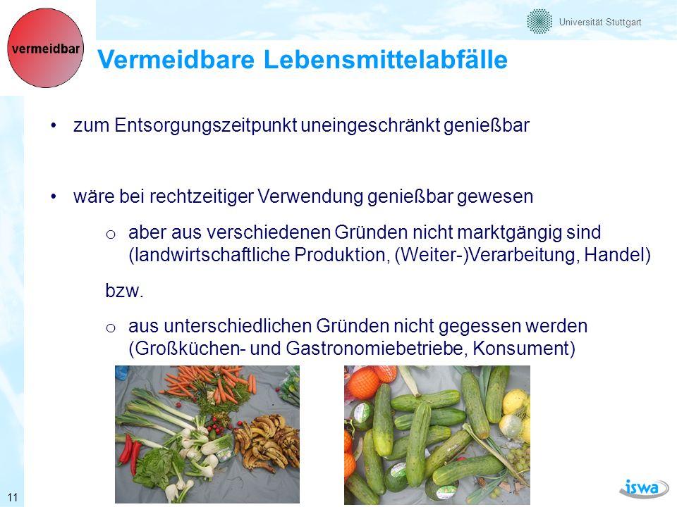 Universität Stuttgart Teilweise / fakultativ vermeidbare Lebensmittelabfälle aufgrund unterschiedlichen Gewohnheiten von Verbrauchern als teilweise vermeidbar eingestuft (z.B.