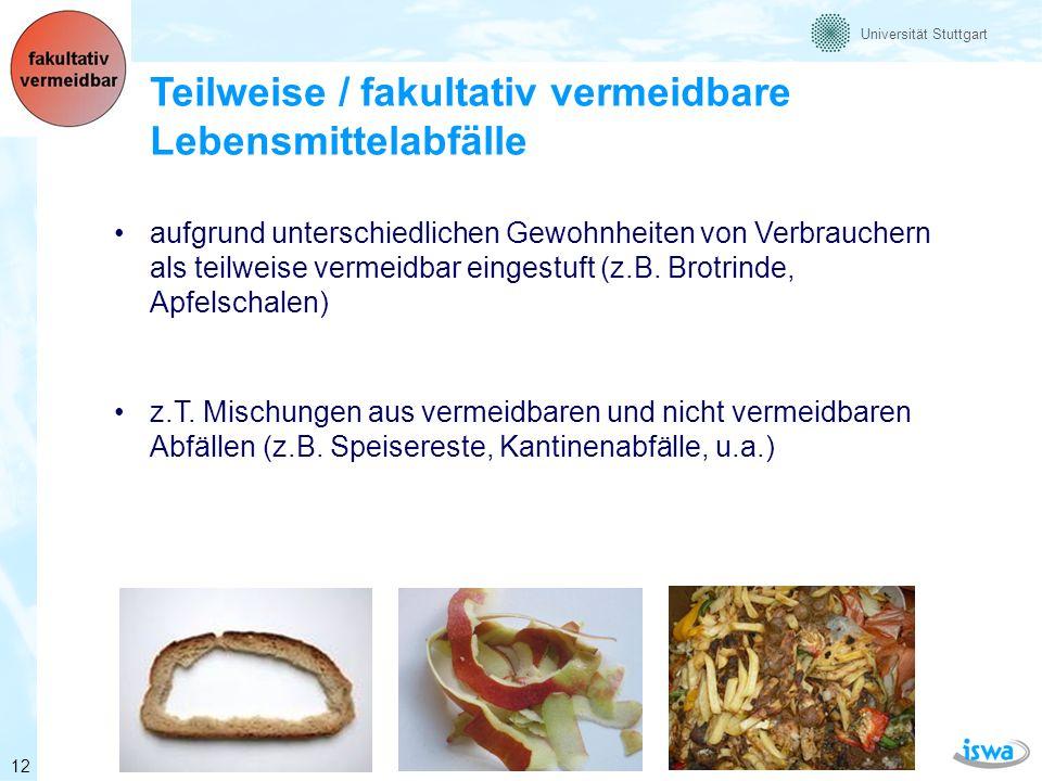 Universität Stuttgart Nicht vermeidbare Lebensmittelabfälle jene Lebensmittelabfälle, die üblicherweise bei der Speisenzubereitung entfernt werden im Wesentlichen handelt es sich um nicht essbare Bestandteile (z.B.