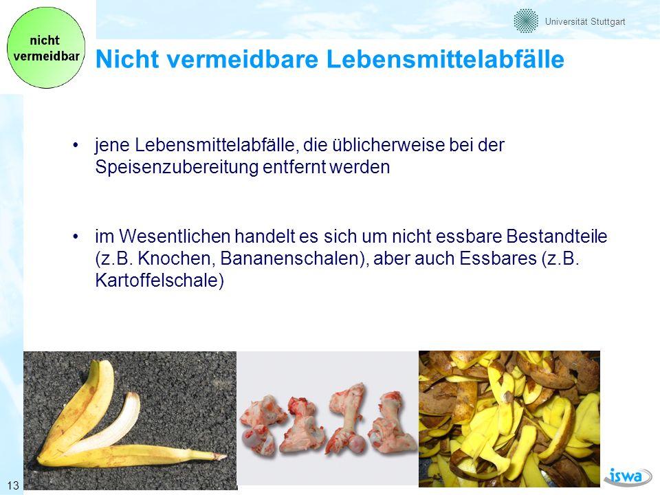 Universität Stuttgart Ergebnisse (1) - Gesamtmengen Die Gesamtmenge der Lebensmittelabfälle in Deutschland beträgt ca.