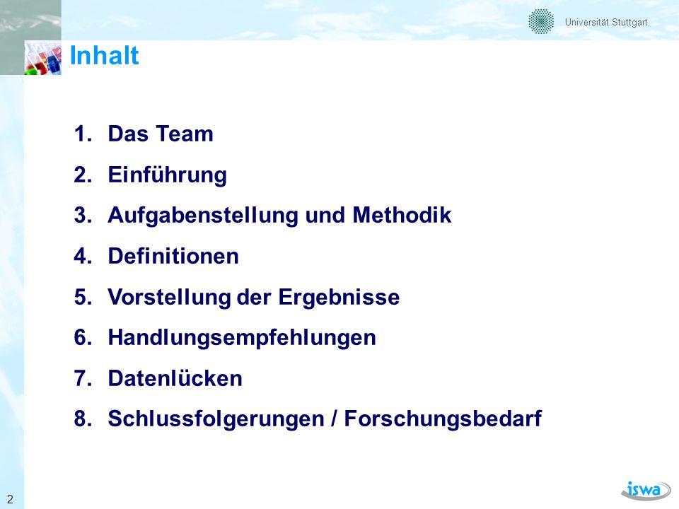 Universität Stuttgart Das Team Prof.Dr.-Ing. Martin Kranert Dipl.-Ing.