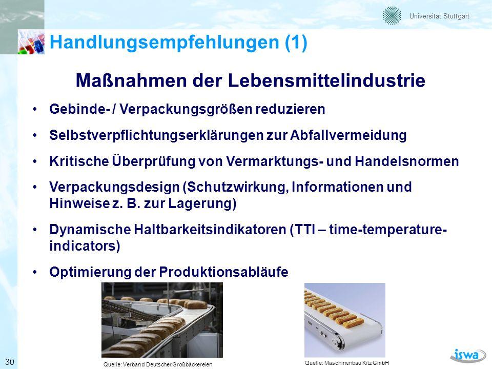 Universität Stuttgart Handlungsempfehlungen (2) Maßnahmen des Handels Weiterentwicklung der Warenwirtschaftssysteme (datengestützt) Bedarfsgerechtes Angebot und Disposition Kritische Überprüfung von Vermarktungs- und Handelsnormen Preisreduzierungen von Lebensmitteln nahe des MHD Resteverwertung z.B.