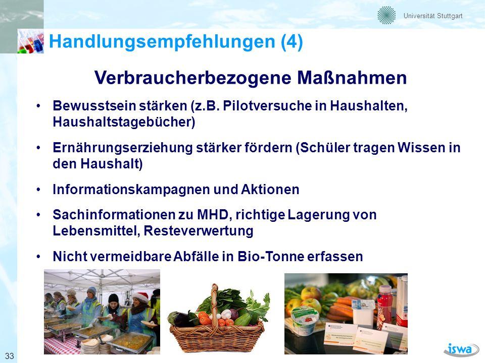 Universität Stuttgart Handlungsempfehlungen (5) Verbraucherbezogene Maßnahmen (Beispiel) Bewusstsein stärken (Lebensmitteltagebuch) Quelle: Barabosz (2011) Ist-Sit.