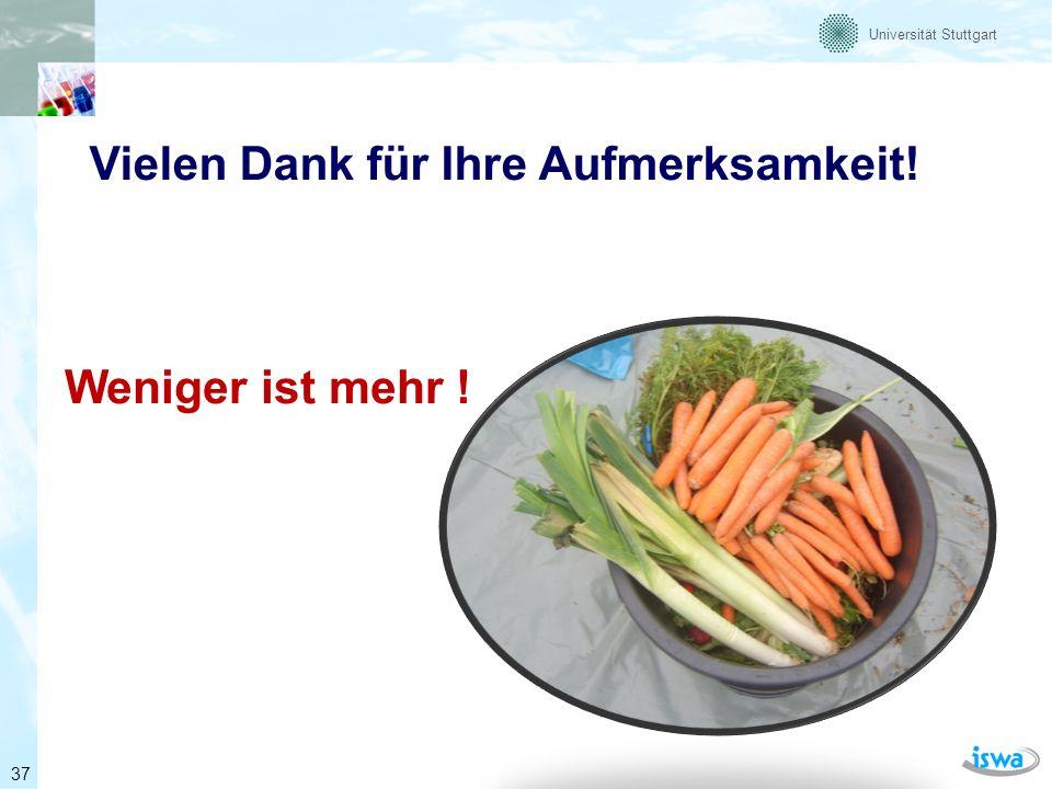 Universität Stuttgart Vielen Dank für Ihre Aufmerksamkeit! Weniger ist mehr ! 37