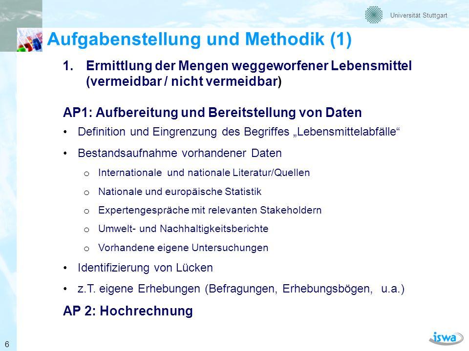 Universität Stuttgart Aufgabenstellung und Methodik (2) 2.