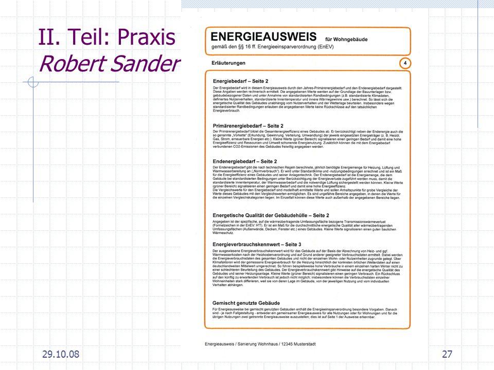 29.10.0827 II. Teil: Praxis Robert Sander