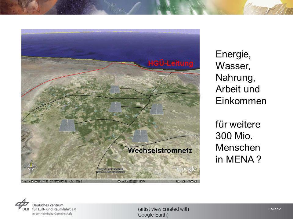 Folie 12 (artist view created with Google Earth) Energie, Wasser, Nahrung, Arbeit und Einkommen für weitere 300 Mio. Menschen in MENA ? nach Lampedusa