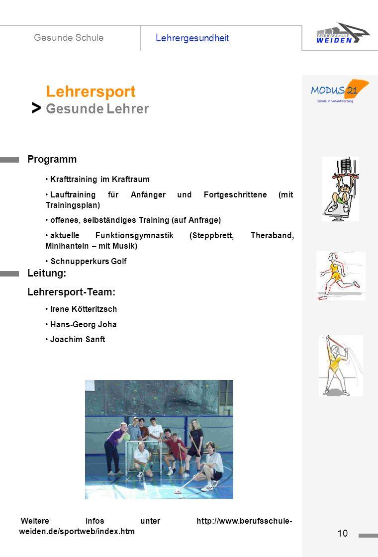 tz10 Lehrergesundheit Gesunde Schule Titelseite 1 Programm Lehrersport Gesunde Lehrer > Krafttraining im Kraftraum Lauftraining für Anfänger und Fortg