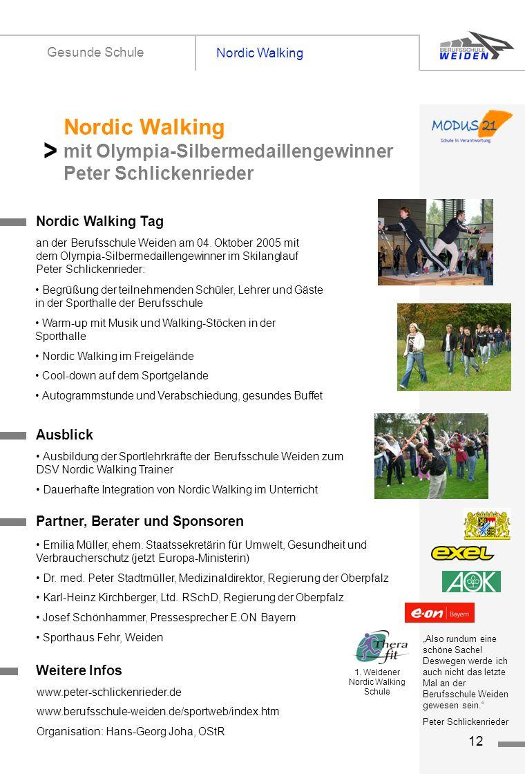 tz12 Nordic Walking Gesunde Schule Titelseite 1 Nordic Walking Tag Nordic Walking mit Olympia-Silbermedaillengewinner Peter Schlickenrieder > an der B