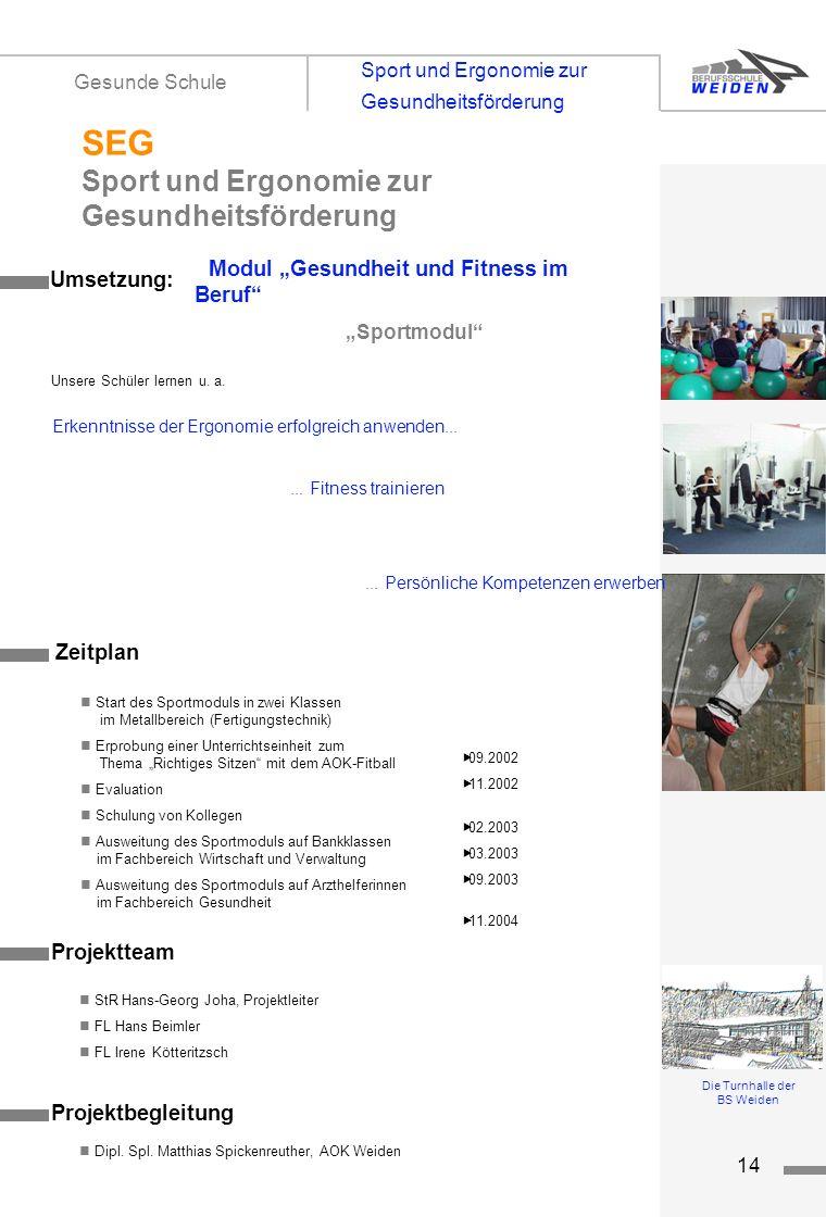 tz14 Modul Gesundheit und Fitness im Beruf Sportmodul Projektteam StR Hans-Georg Joha, Projektleiter FL Hans Beimler FL Irene Kötteritzsch Umsetzung: