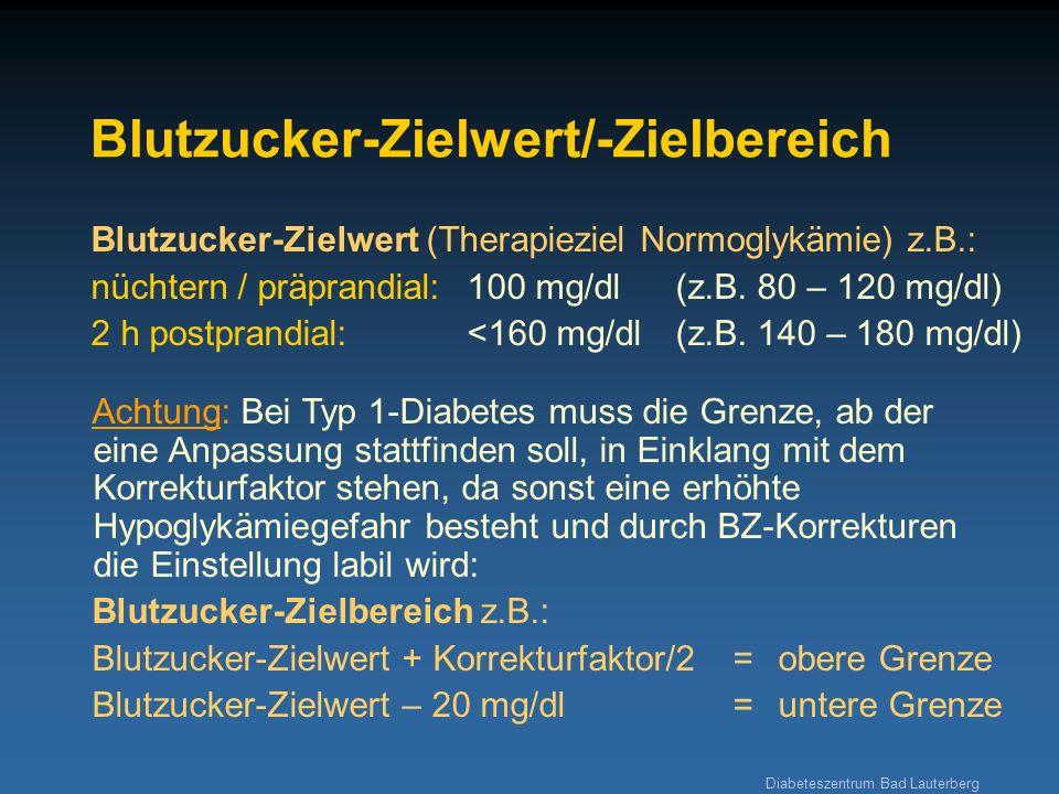 Diabeteszentrum Bad Lauterberg Blutzucker-Zielwert/-Zielbereich Achtung: Bei Typ 1-Diabetes muss die Grenze, ab der eine Anpassung stattfinden soll, i