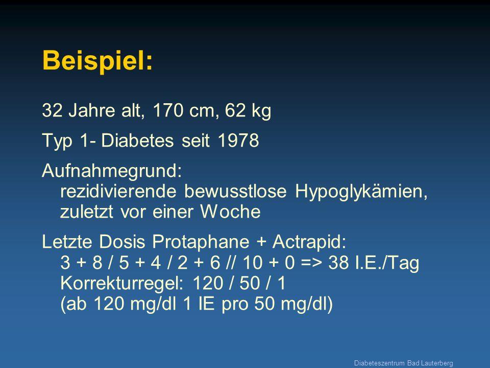 Diabeteszentrum Bad Lauterberg Beispiel: 32 Jahre alt, 170 cm, 62 kg Typ 1- Diabetes seit 1978 Aufnahmegrund: rezidivierende bewusstlose Hypoglykämien