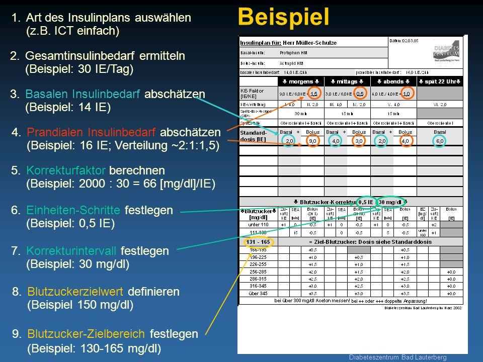 Diabeteszentrum Bad Lauterberg 1.Art des Insulinplans auswählen (z.B. ICT einfach) Beispiel 2. Gesamtinsulinbedarf ermitteln (Beispiel: 30 IE/Tag) 5.