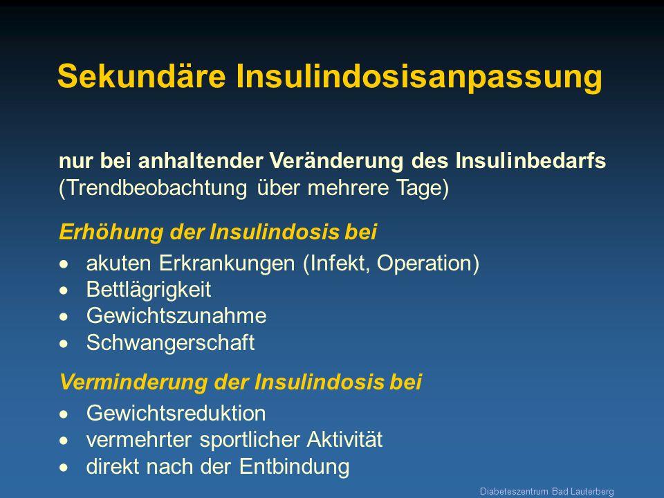 Diabeteszentrum Bad Lauterberg Sekundäre Insulindosisanpassung nur bei anhaltender Veränderung des Insulinbedarfs (Trendbeobachtung über mehrere Tage)