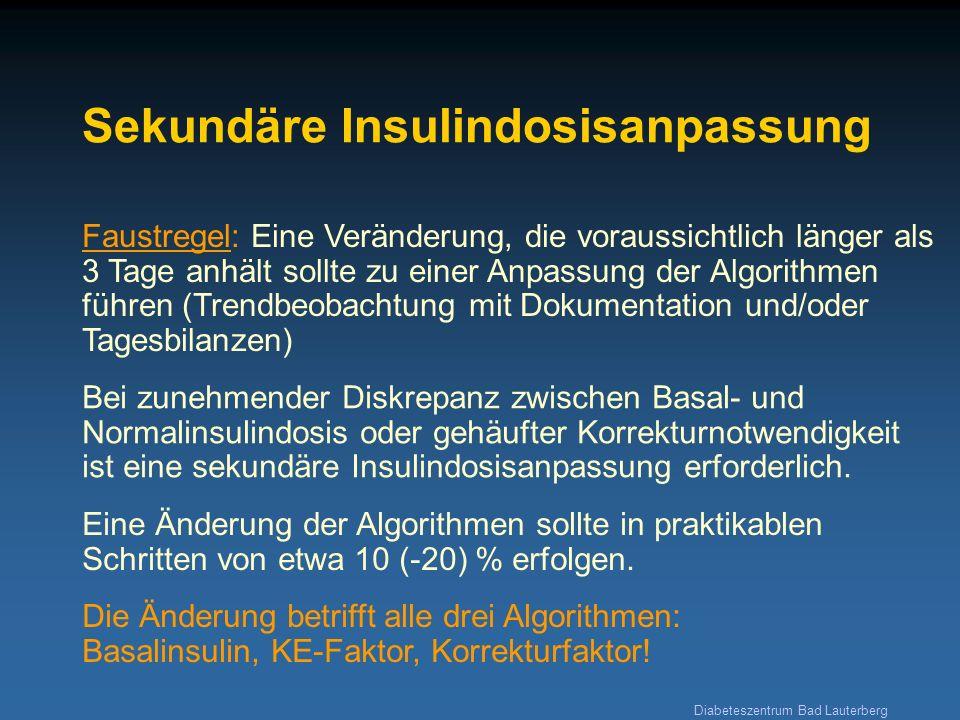 Diabeteszentrum Bad Lauterberg Sekundäre Insulindosisanpassung Faustregel: Eine Veränderung, die voraussichtlich länger als 3 Tage anhält sollte zu ei