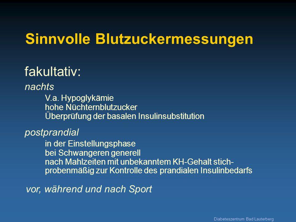 Diabeteszentrum Bad Lauterberg Selbstkontrollen in besonderen Situationen Azeton im Urin bei wiederholt (2-3x) gemessenen Blutzuckerwerten >300 mg/dl (bei Pumpenträgern >240 mg/dl) bei Krankheitssymptomen wie Übelkeit, Erbrechen, fieberhaften Infekten etc.
