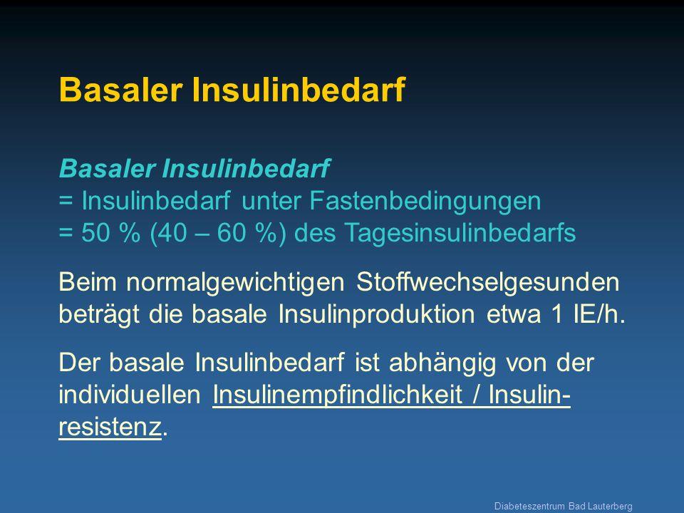 Diabeteszentrum Bad Lauterberg Basaler Insulinbedarf Basaler Insulinbedarf = Insulinbedarf unter Fastenbedingungen = 50 % (40 – 60 %) des Tagesinsulin