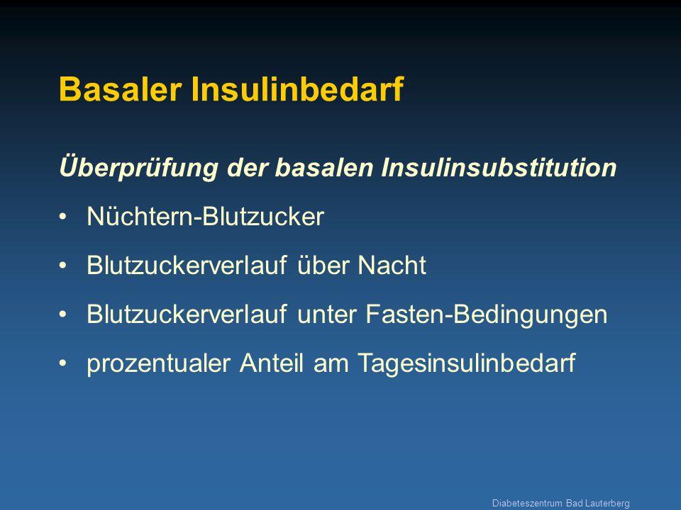 Diabeteszentrum Bad Lauterberg Erstellung eines individuellen Insulinplanes 24 (1) basaler Insulinbedarf 1269 (2a) prandialer Insulinbedarf 42426 2,0 1,0 1,5 (2b) KE-Faktor = Insulindosis/KE