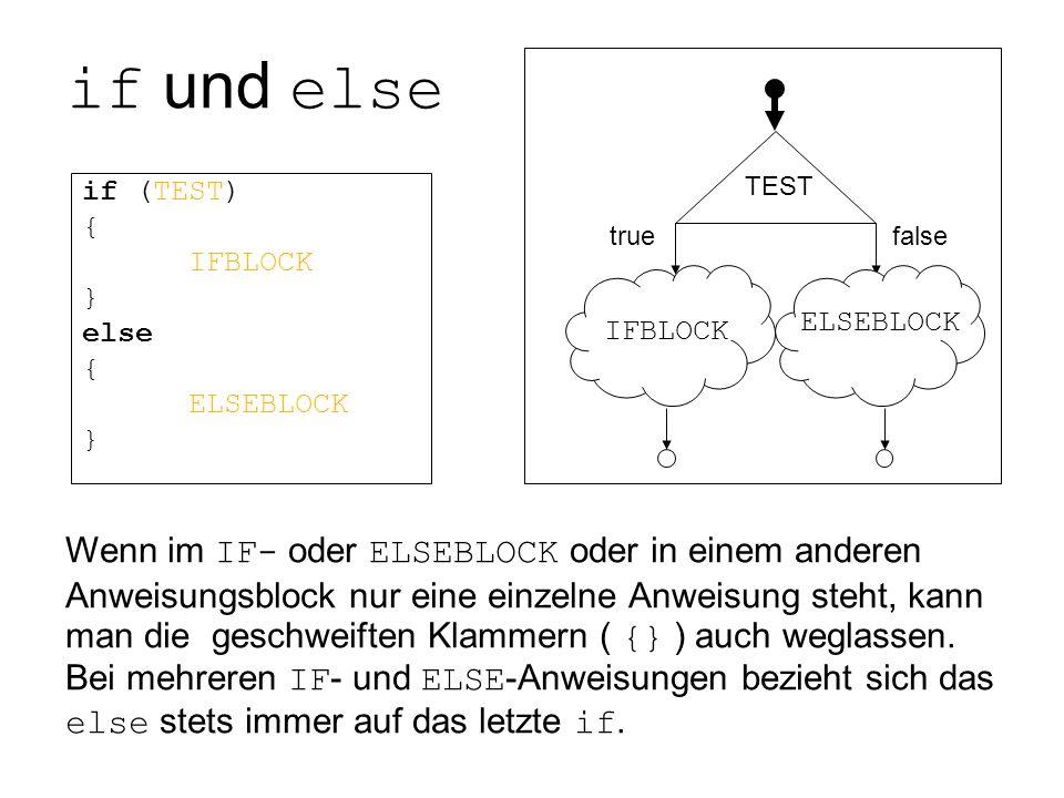 if und else if (TEST) { IFBLOCK } else { ELSEBLOCK } TEST true false IFBLOCK ELSEBLOCK Wenn im IF- oder ELSEBLOCK oder in einem anderen Anweisungsbloc