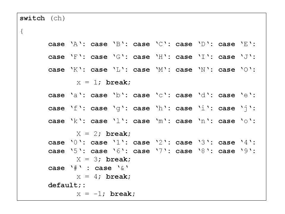 switch (ch) { case A: case B: case C: case D: case E: case F: case G: case H: case I: case J: case K: case L: case M: case N: case O: x = 1; break; ca