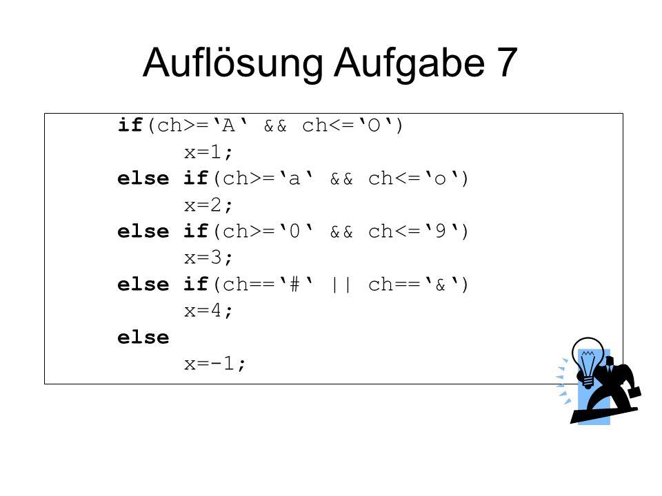 Auflösung Aufgabe 7 if(ch>=A && ch<=O) x=1; else if(ch>=a && ch<=o) x=2; else if(ch>=0 && ch<=9) x=3; else if(ch==# || ch==&) x=4; else x=-1;