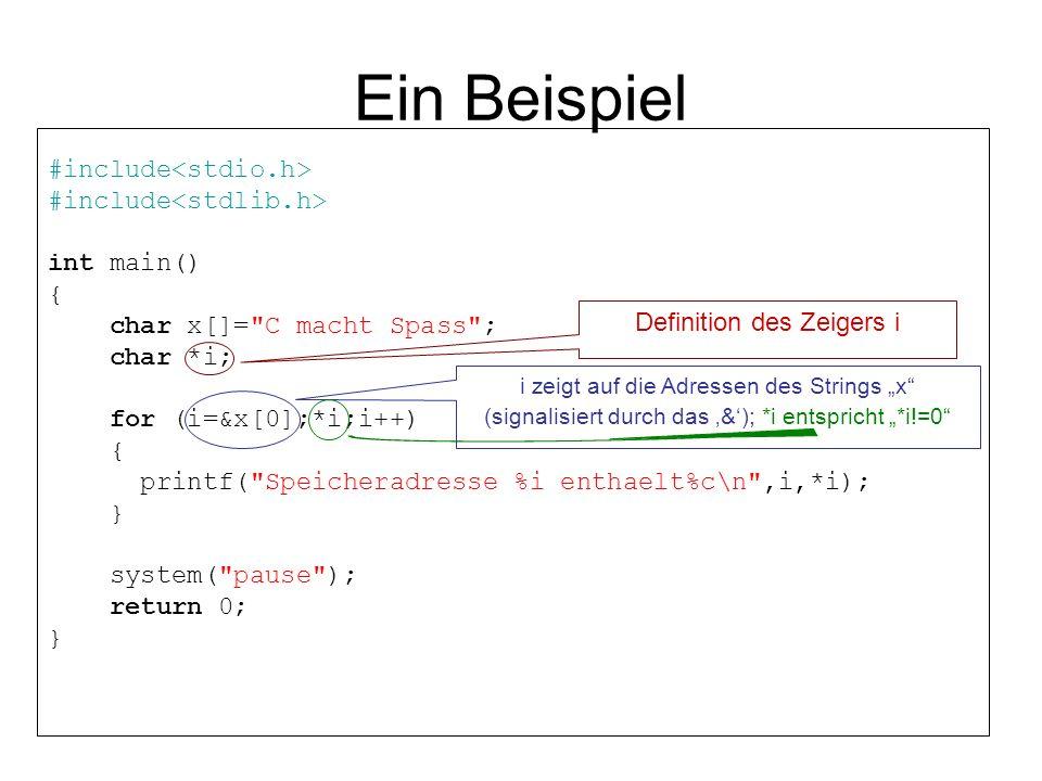 Ein Beispiel #include int main() { char x[]=