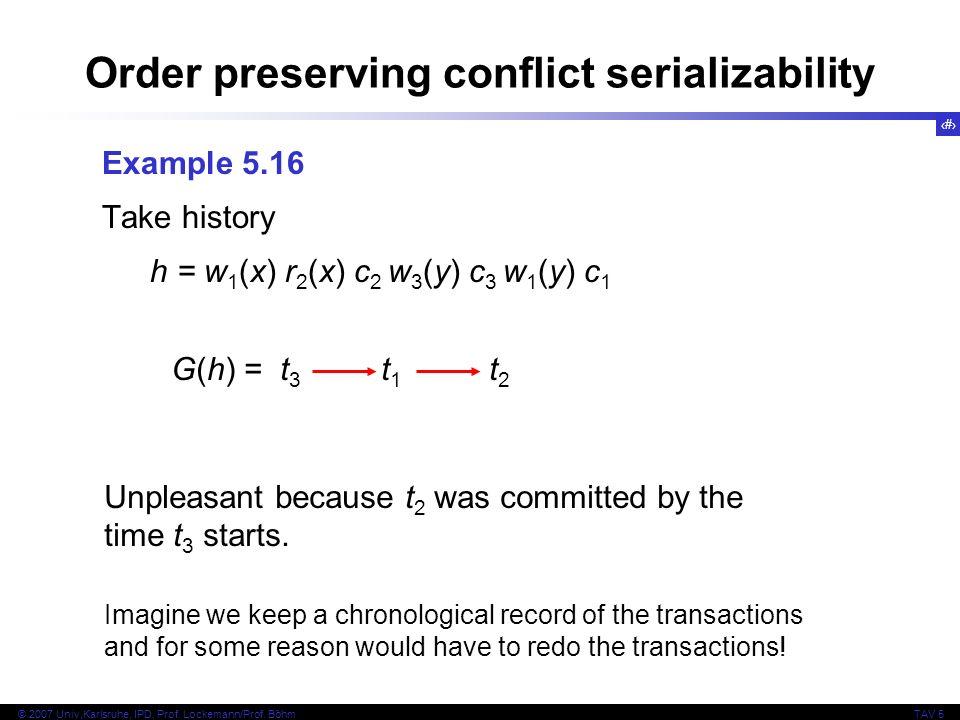 24 © 2007 Univ,Karlsruhe, IPD, Prof. Lockemann/Prof. BöhmTAV 5 Order preserving conflict serializability Example 5.16 Take history h = w 1 (x) r 2 (x)