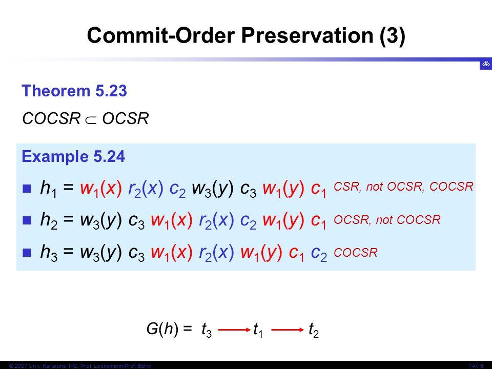 29 © 2007 Univ,Karlsruhe, IPD, Prof. Lockemann/Prof. BöhmTAV 5 Commit-Order Preservation (3) Theorem 5.23 COCSR OCSR Example 5.24 h 1 = w 1 (x) r 2 (x