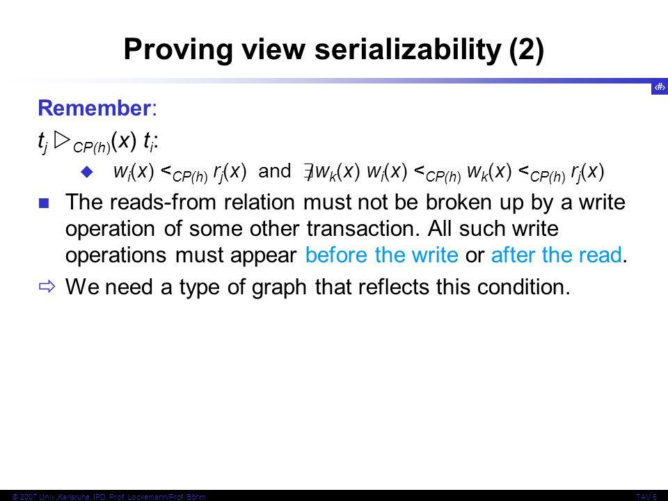 40 © 2007 Univ,Karlsruhe, IPD, Prof. Lockemann/Prof. BöhmTAV 5 Proving view serializability (2) Remember: t j CP(h) (x) t i : w i (x) < CP(h) r j (x)