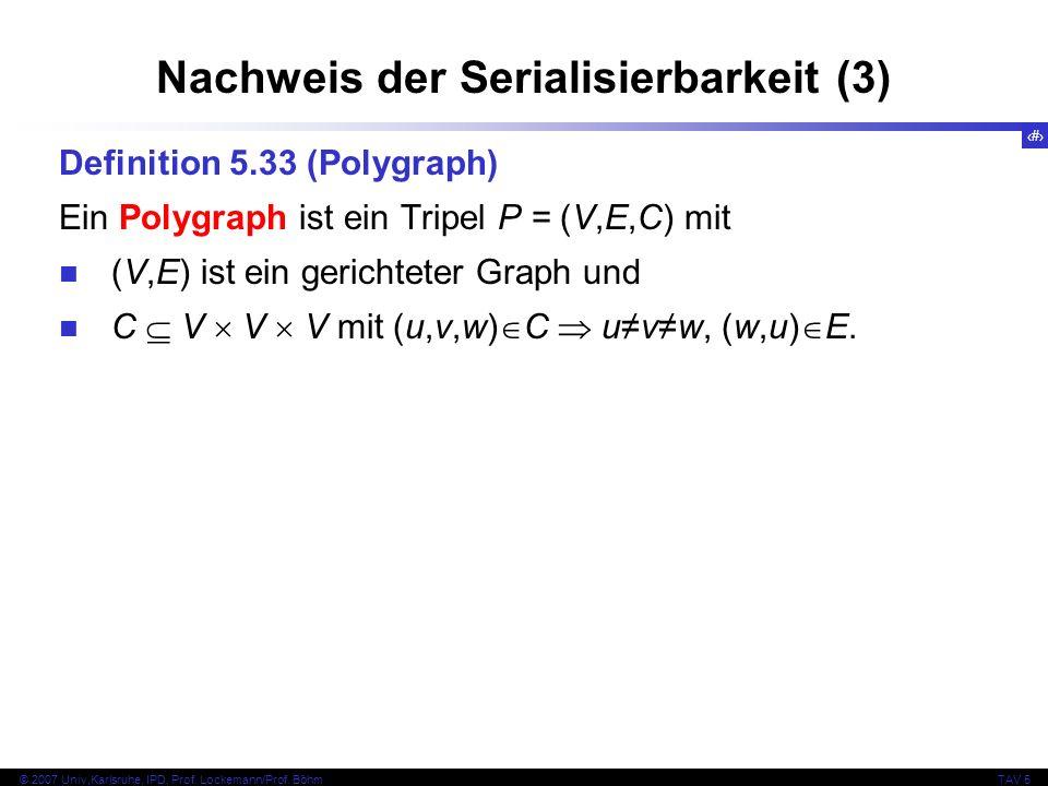 41 © 2007 Univ,Karlsruhe, IPD, Prof. Lockemann/Prof. BöhmTAV 5 Nachweis der Serialisierbarkeit (3) Definition 5.33 (Polygraph) Ein Polygraph ist ein T