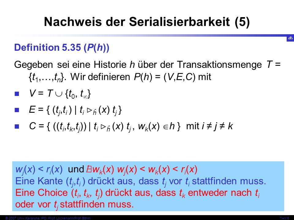 45 © 2007 Univ,Karlsruhe, IPD, Prof. Lockemann/Prof. BöhmTAV 5 Nachweis der Serialisierbarkeit (5) Definition 5.35 (P(h)) Gegeben sei eine Historie h