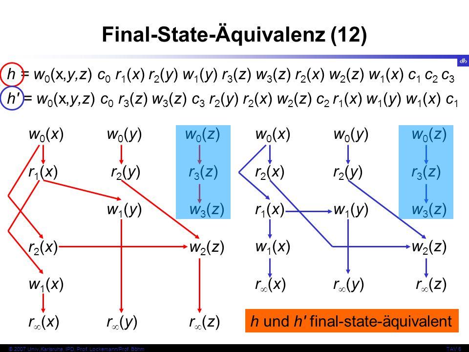 75 © 2007 Univ,Karlsruhe, IPD, Prof. Lockemann/Prof. BöhmTAV 5 Final-State-Äquivalenz (12) h = w 0 (x,y,z) c 0 r 1 (x) r 2 (y) w 1 (y) r 3 (z) w 3 (z)