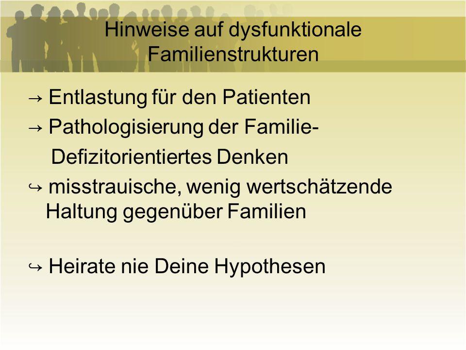 Hinweise auf dysfunktionale Familienstrukturen Entlastung für den Patienten Pathologisierung der Familie- Defizitorientiertes Denken misstrauische, we