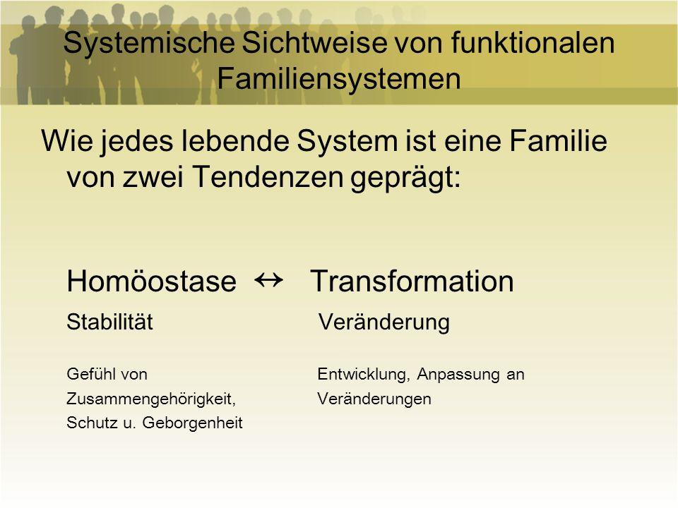 Systemische Sichtweise von funktionalen Familiensystemen Wie jedes lebende System ist eine Familie von zwei Tendenzen geprägt: Homöostase Transformati
