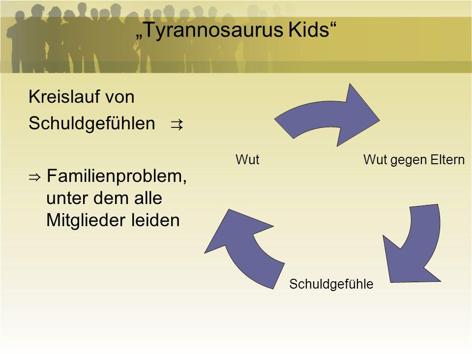 Tyrannosaurus Kids Kreislauf von Schuldgefühlen Familienproblem, unter dem alle Mitglieder leiden Wut gegen Eltern Schuldgefühle Wut