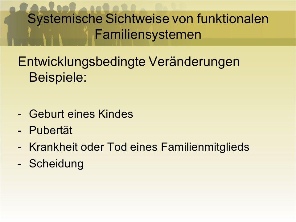 Systemische Sichtweise von funktionalen Familiensystemen Außerfamiliale Belastungen Beispiele: - Wohnortwechsel -Verlust des Arbeitsplatzes -Finanzielle Belastungen